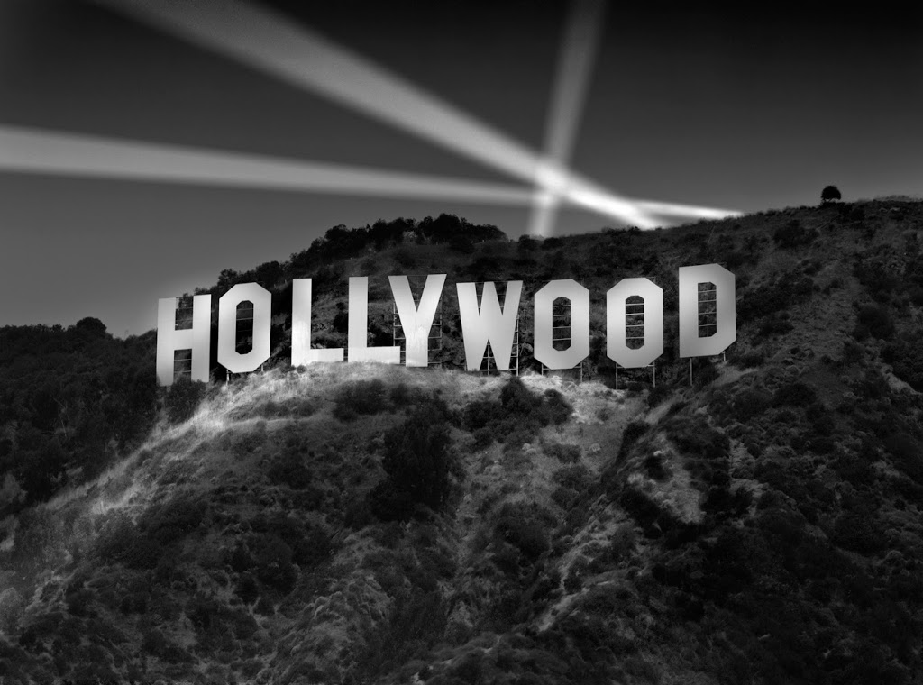 The Hollywood sign lit up at night
